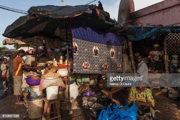 nA market stall depicting US President Barack Obama and his wife Michelle is seen at the market in downtown on August 1 2013 in Bamako MalinIn...