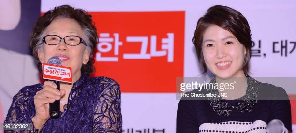 Na MoonHee and Sim EunKyung attend the movie 'Miss Granny' press conference at Wangsimni CGV on January 6 2014 in Seoul South Korea