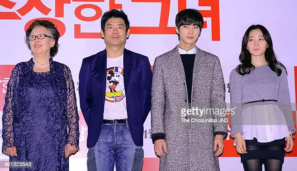 Na MoonHee Sung DongIl Jung JinYoung and Kim SeulGi attend the movie 'Miss Granny' press conference at Wangsimni CGV on January 6 2014 in Seoul South...