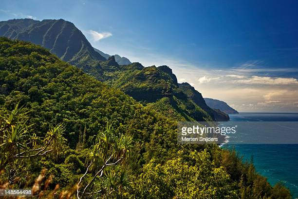 na pali coast, as seen from the kalalau trail. - merten snijders stock pictures, royalty-free photos & images