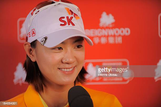 Na Yeon Choi of South Korea answers an interview after the first round of the Reignwood LPGA Classic at Pine Valley Golf Club on October 3 2013 in...