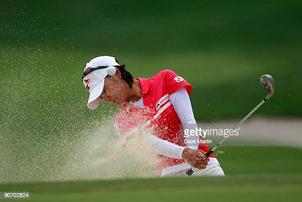 Na Yeon Choi of South Korea hits from the sand on the first hole during final round play in the PG Beauty NW Arkansas Championship at the Pinnacle...