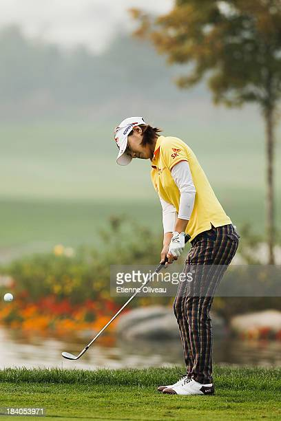 Na Yeon Choi of South Korea makes an approach shot on the 18th tee during the second round of the Reignwood LPGA Classic at Pine Valley Golf Club on...