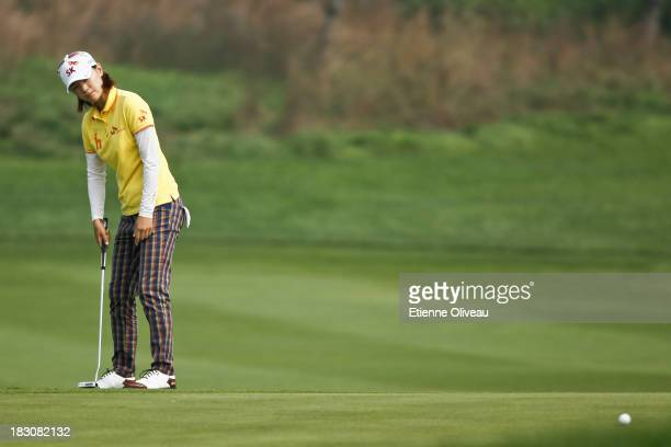 Na Yeon Choi of South Korea reacts to her shot during the second round of the Reignwood LPGA Classic at Pine Valley Golf Club on October 4 2013 in...