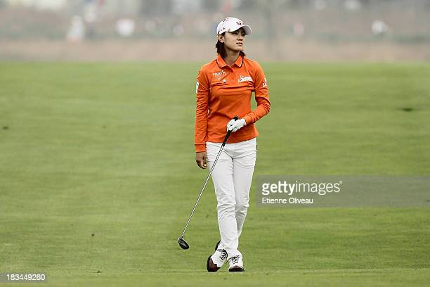 Na Yeon Choi of South Korea stands on the fairway during the final round of the Reignwood LPGA Classic at Pine Valley Golf Club on October 6 2013 in...