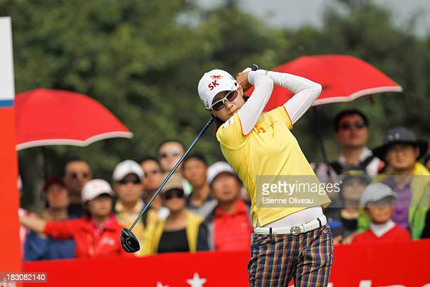 Na Yeon Choi of South Korea tees off during the second round of the Reignwood LPGA Classic at Pine Valley Golf Club on October 4 2013 in Beijing China