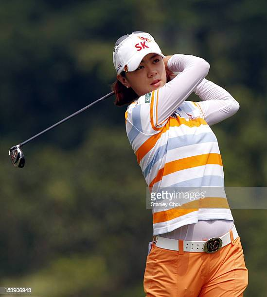 Na Yeon Choi of South Korea watches her 2nd shot on the 6th hole during day one of the Sime Darby LPGA Malaysia at Kuala Lumpur Golf Country Club on...