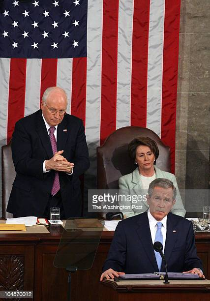 na_bush 1/23/07 Capitol Hill DC STATE OF THE UNION Post Photos by Rich Lipski Vice President Dick Cheney stands to applaud while House Speaker Nancy...