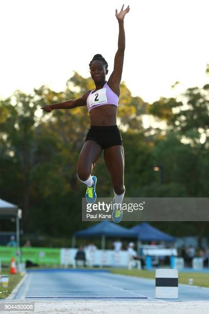 Naa Anang competes in the wqomen's long jump during the Jandakot Airport Perth Track Classic at WA Athletics Stadium on January 13 2018 in Perth...