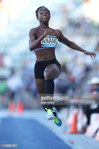 Naa Anang of Queensland competes in the Women Long Jump Open final during the Australian Track and Field Championships at Sydney Olympic Park...