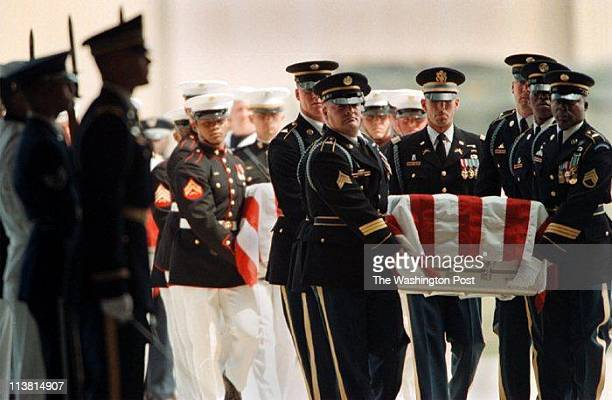 Lucian Perkins TWP Location Andrews Air Force Base CaptionAt the beginning of the memorial service at Andrews Honor guards bring in the caskets of...