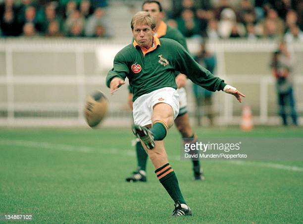 Naas Botha in action for South Africa during the Rugby Union International against France at the Parc des Princes in Paris on the 24th October 1992....