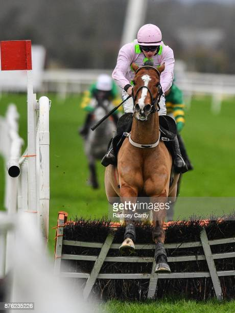 Naas Ireland 19 November 2017 Faugheen with Paul Townend up jumps the last on their way to winning the Morgiana hurdle at Punchestown Racecourse in...