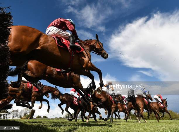 Naas Ireland 25 April 2018 A general view of the field as they jump the sixth during the Adare Manor Opportunity Series Final Handicap Hurdle at...