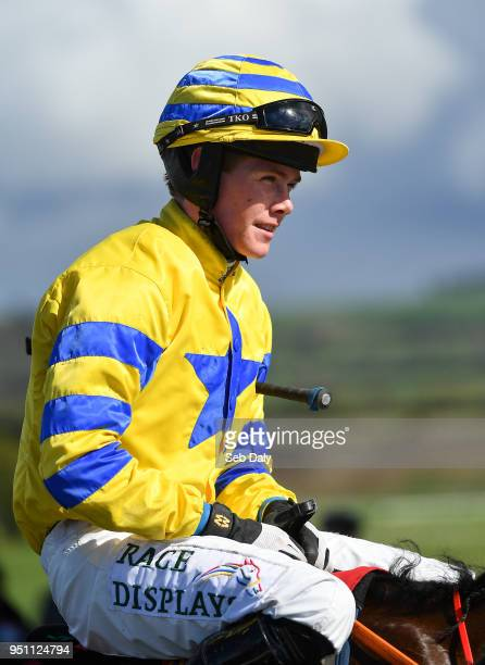 Naas Ireland 25 April 2018 Jockey Adam Short after winning the Adare Manor Opportunity Series Final Handicap Hurdle on Prince Garyantle at...
