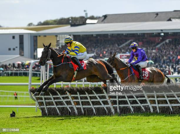 Naas Ireland 25 April 2018 Prince Garyantle left with Adam Short up jumps the sixth on their way to winning the Adare Manor Opportunity Series Final...