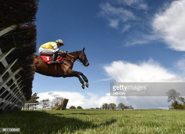 Naas Ireland 25 April 2018 Prince Garyantle with Adam Short up jumps the sixth on their way to winning the Adare Manor Opportunity Series Final...