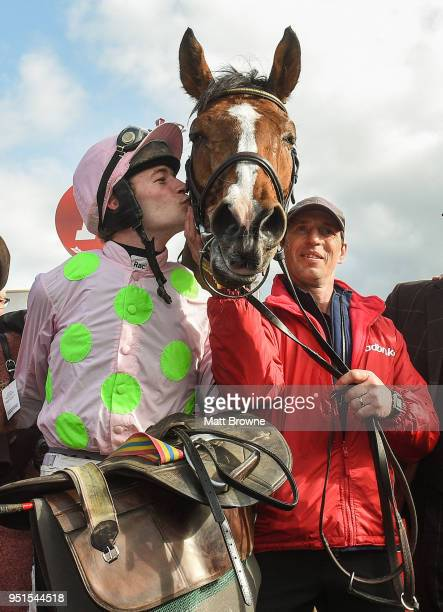 Naas Ireland 26 April 2018 David Mullins kisses Faugheen after winning the Ladbrokes Champion Stayers Hurdle at Punchestown Racecourse in Naas Co...
