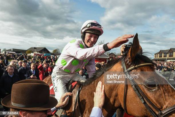 Naas Ireland 26 April 2018 David Mullins on Faugheen celebrates winning the Ladbrokes Champion Stayers Hurdle at Punchestown Racecourse in Naas Co...