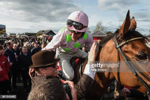 Naas Ireland 26 April 2018 David Mullins on Faugheen celebrates with owner Rich Ricci after winning the Ladbrokes Champion Stayers Hurdle at...