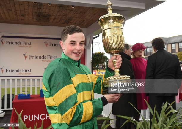 Naas Ireland 26 April 2018 Donal McInerney with the La Touche Cup after winning the Friends First Cross Country Steeplechase for the La Touche Cup on...