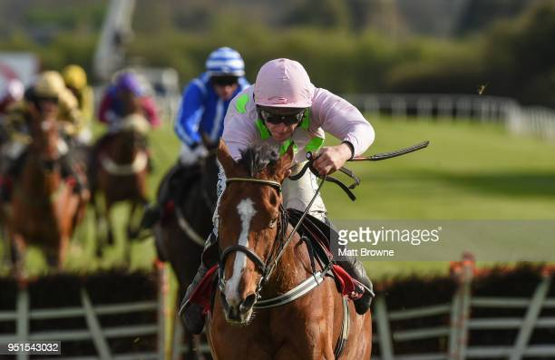 Naas Ireland 26 April 2018 Faugheen with David Mullins up on their way to winning the Ladbrokes Champion Stayers Hurdle after jumping the last at...
