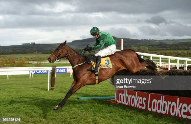Naas Ireland 26 April 2018 Footpad with Daryl Jacob up clear the last on their way to winning the Ryanair Novice Steeplechase at Punchestown...