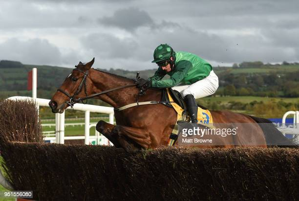 Naas Ireland 26 April 2018 Footpad with Daryl Jacob up jump the last on their way to winning the Ryanair Novice Steeplechase at Punchestown...
