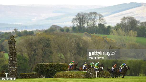 Naas Ireland 26 April 2018 Runners and riders during the Friends First Cross Country Steeplechase for the La Touche Cup at Punchestown Racecourse in...