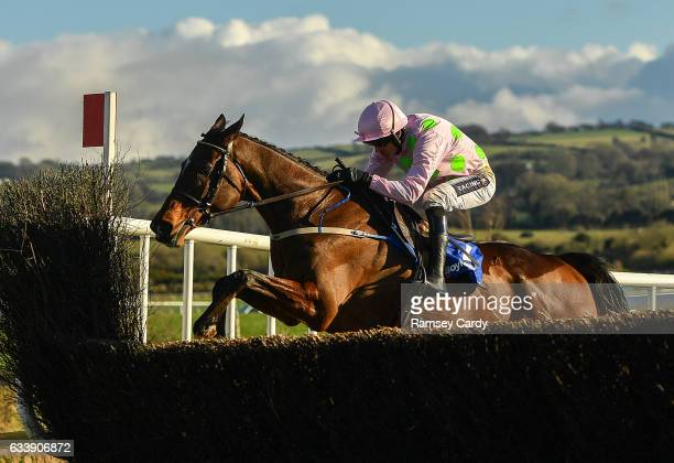 Naas Ireland 5 February 2017 Douvan with Ruby Walsh up jump the last on their way to winning the BoyleSports Tied Cottage Steeplechase at Punchestown...