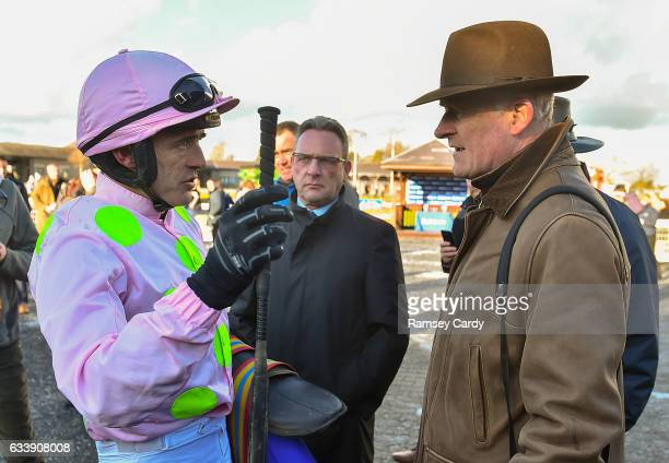 Naas Ireland 5 February 2017 Jockey Ruby Walsh left in conversation with trainer Willie Mullins after sending out Douvan to win the BoyleSports Tied...