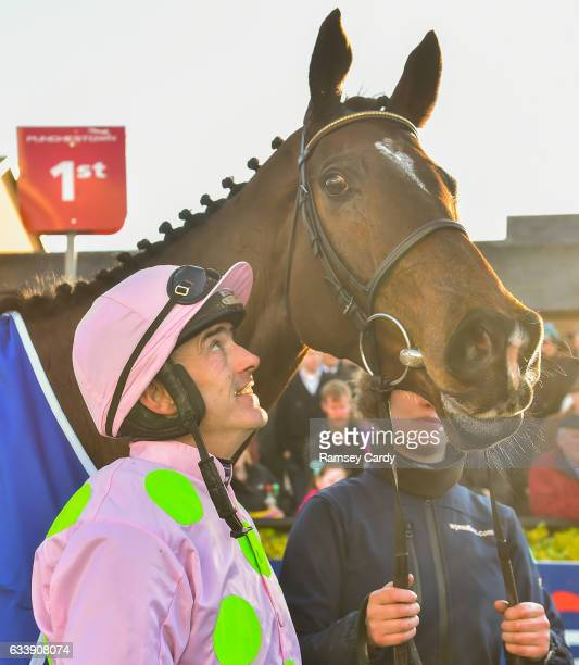Naas Ireland 5 February 2017 Jockey Ruby Walsh with Douvan after winning the BoyleSports Tied Cottage Steeplechase at Punchestown Racecourse in Naas...