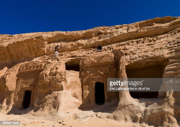 Nabataean tomb in madain saleh archaeologic site Al Madinah Province AlUla Saudi Arabia on January 23 2010 in Alula Saudi Arabia