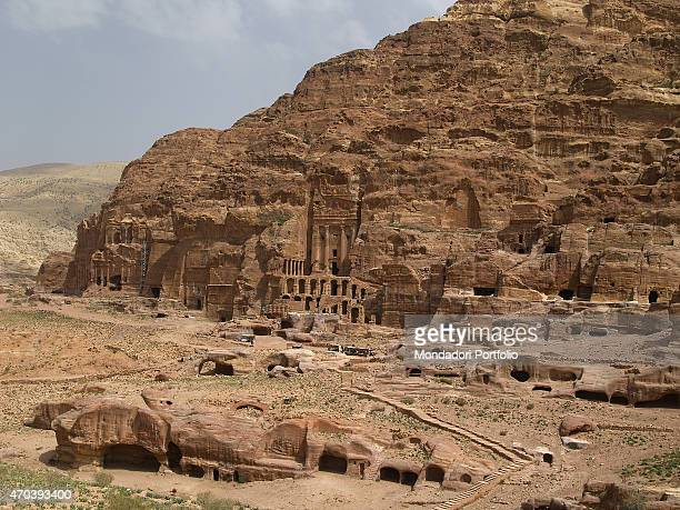 'Nabatean Tombs 70 AD 1st Century AD carved stone Jordan Petra Whole artwork view Panoramic view of the Petra Nabatean tombs with the Urn Tomb carved...