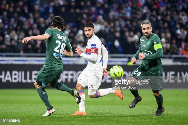 Nabi Fekir of Lyon and Loic Perrin of Saint Etienne during the Ligue 1 match between Olympique Lyonnais and AS SaintEtienne at Parc Olympique on...