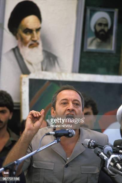 Nabih Berri chef du mouvement Amal lors d'un discours le 31 août 1985 au Liban