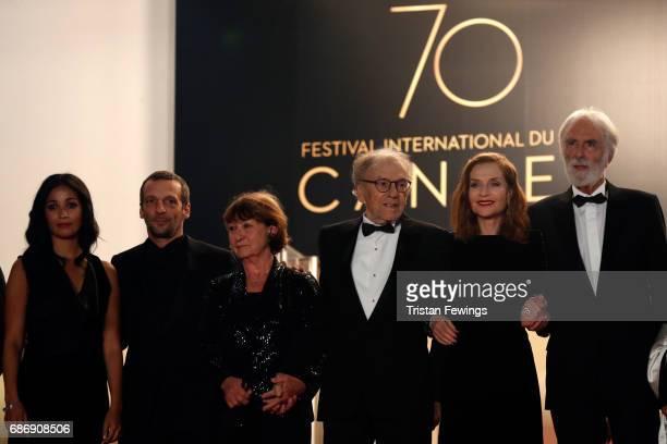 Nabiha Akkari Mathieu Kassovitz Marianne Hoepfner JeanLouis Trintignant Isabelle Huppert and director Michael Haneke attend the Happy End screening...