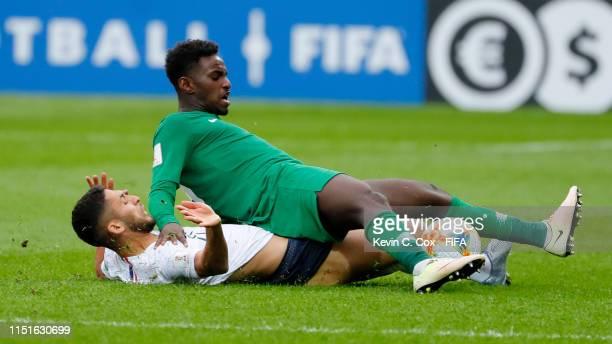 Nabil Alioui of France fouls Ibrahim Mahnashi of Saudi Arabia during the 2019 FIFA U-20 World Cup group E match between France and Saudi Arabia at...