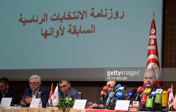 Nabil Baffoun head of Tunisia's Independent High Authority for Elections speaks during a press conference announcing the calendar for early...