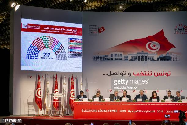 Nabil Bafon , the chairman of the Independent High Elections Commission of Tunisia, holds a press conference on the parliamentary election results at...