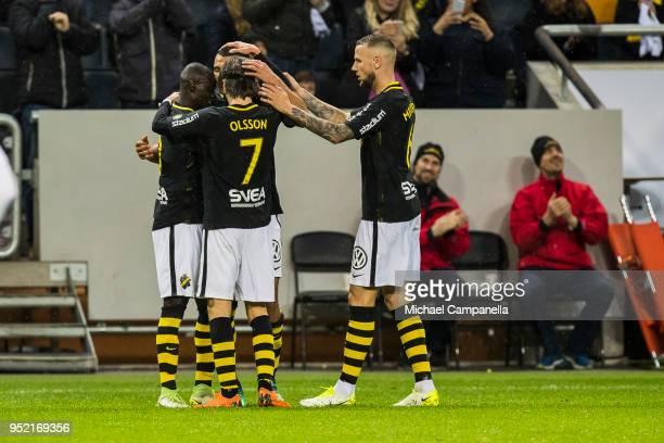 Nabil Bahoui Kristoffer Olsson Ahmed Yasin and Alexander Milosevic of AIK celebrate scoring the 20 goal during an Allsvenskan match between AIK and...