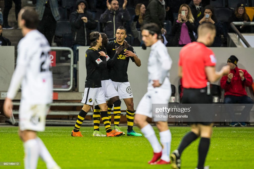 Nabil Bahoui, Kristoffer Olsson, and Ahmed Yasin of AIK celebrate scoring the 2-0 goal during an Allsvenskan match between AIK and IK Sirius at Friends Arena on April 27, 2018 in Solna, Sweden.