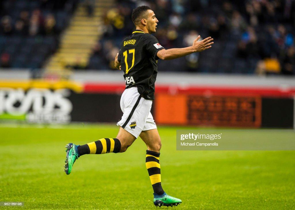 Nabil Bahoui of AIK celebrates scoring the 1-0 goal during an Allsvenskan match between AIK and IK Sirius at Friends Arena on April 27, 2018 in Solna, Sweden.