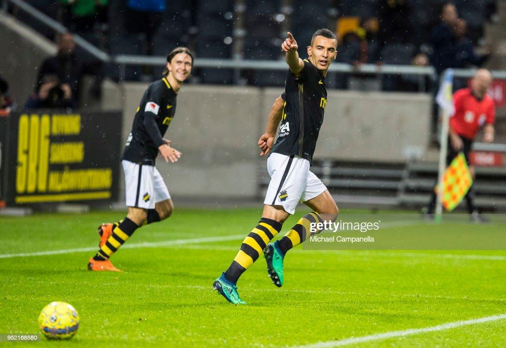 Nabil Bahoui of AIK celebrates scoring the 2-0 goal during an Allsvenskan match between AIK and IK Sirius at Friends Arena on April 27, 2018 in Solna, Sweden.