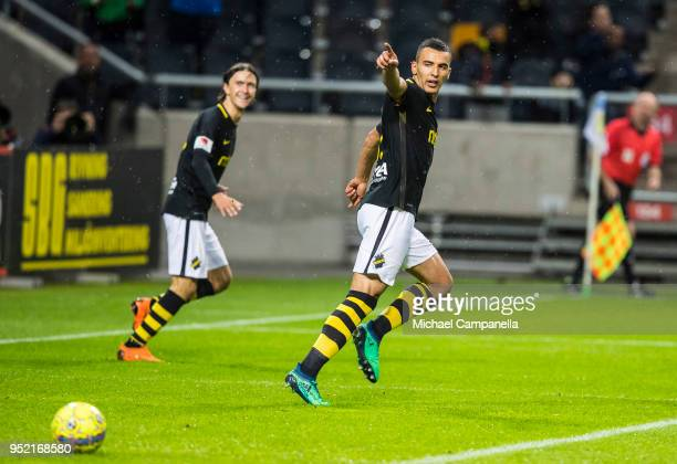 Nabil Bahoui of AIK celebrates scoring the 20 goal during an Allsvenskan match between AIK and IK Sirius at Friends Arena on April 27 2018 in Solna...