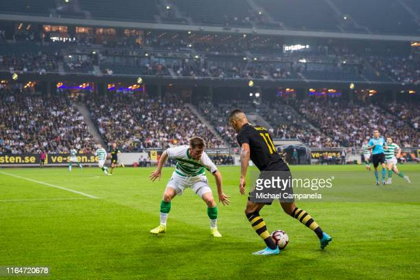 Nabil Bahoui of AIK runs with the ball during a UEFA Europa League qualification match between AIK and Celtic FC at Friends arena on August 29, 2019...