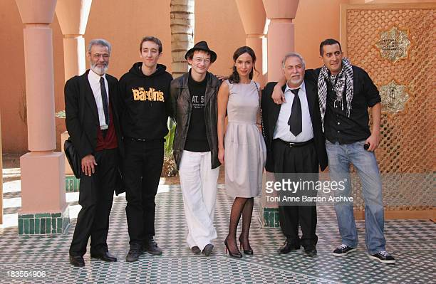 Nabil Ben Yadir Julien Courbey SalahEddine Benmoussa Sebastien Delloye and Fatema Ouechay attend 'Les Barsons' photocall at the Mansour Hotel on...