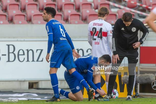 Nabil Bentaleb of FC Schalke 04 and Omar Mascarell of FC Schalke 04 substitutes during the Bundesliga match between VfB Stuttgart and FC Schalke 04...