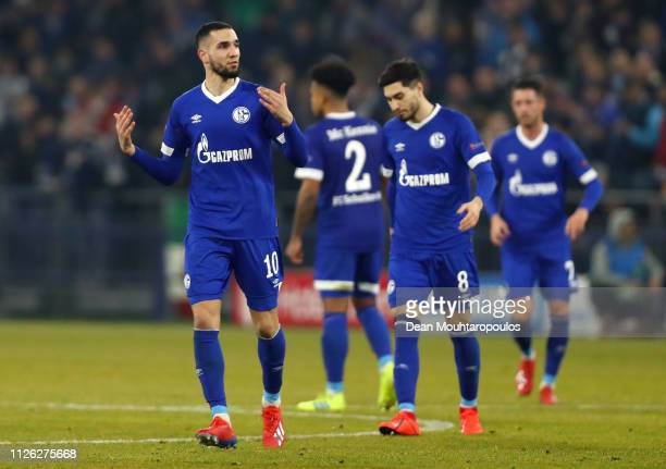 Nabil Bentaleb of FC Schalke 04 celebrates after scoring his team's second goal from the penalty spot during the UEFA Champions League Round of 16...