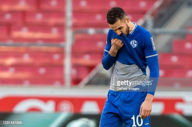 Nabil Bentaleb of FC Schalke 04 looks dejected during the Bundesliga match between VfB Stuttgart and FC Schalke 04 at Mercedes-Benz Arena on February...